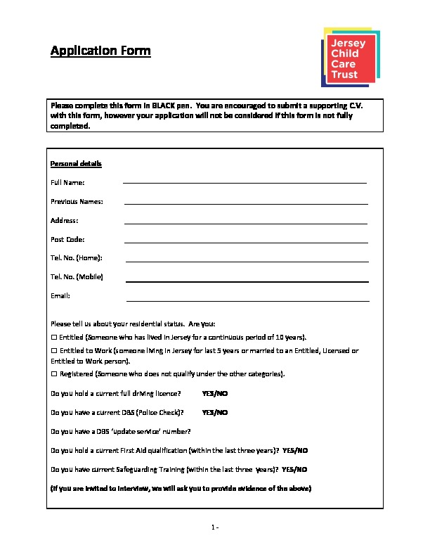 APPLICATION FORM - Jersey Child Care Trust